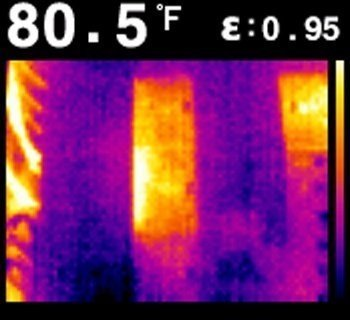 immagine del display di una termocamera